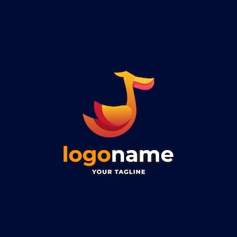 Streszczenie minimalistyczne logo z gradientowym pelikanem