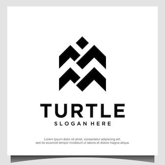 Streszczenie minimalistyczne projektowanie logo żółwia. nowoczesna ikona geometryczne. ilustracja żółwia morskiego.