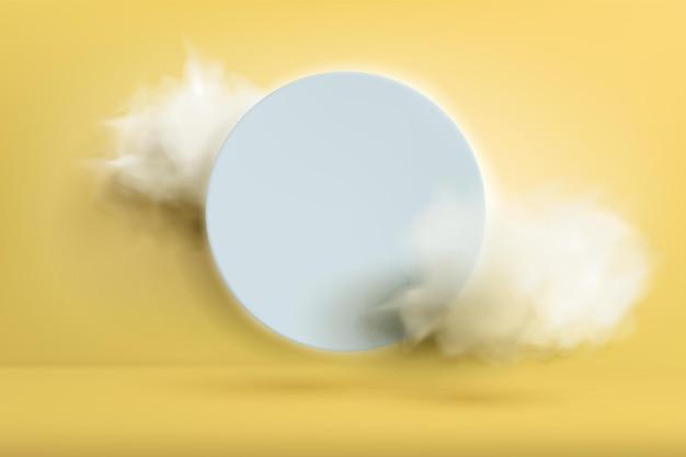 Streszczenie minimalistyczne żółte tło. ozdobny niebieski okrąg ze światłami i chmurami.