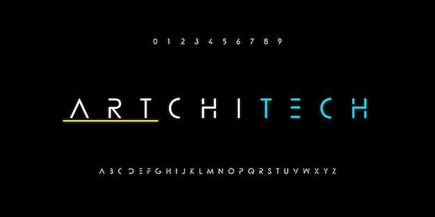 Streszczenie minimalistyczny cienka linia alfabetu. czcionki nowoczesnej technologii cyfrowej