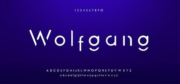 Streszczenie minimalne nowoczesne czcionki alfabetu. typografia minimalistyczna miejska cyfrowa moda przyszłości kreatywna czcionka logo