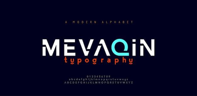 Streszczenie minimalne nowoczesne czcionki alfabetu. typografia minimalistyczna miejska cyfrowa moda przyszłości kreatywna czcionka logo.