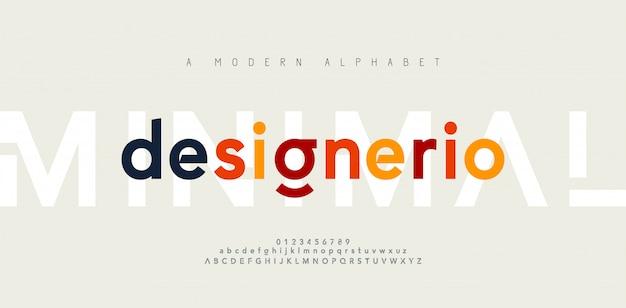 Streszczenie minimalne nowoczesne czcionki alfabetu. typografia minimalistyczna miejska moda cyfrowa przyszłość kreatywna czcionka
