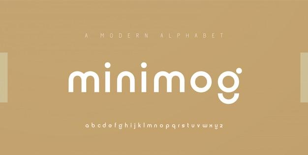 Streszczenie minimalne nowoczesne czcionki alfabetu. typografia minimalistyczna miejska moda cyfrowa przyszłość kreatywne logo czcionki.