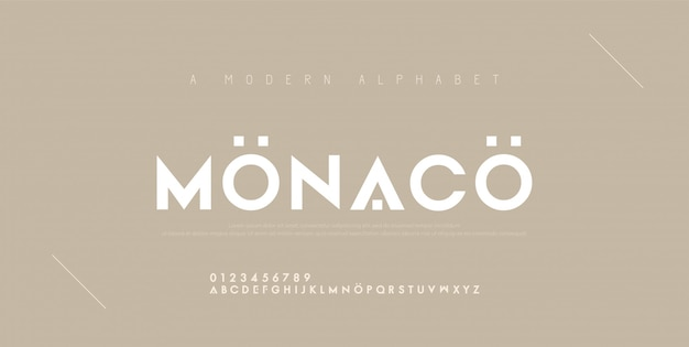 Streszczenie minimalne nowoczesne czcionki alfabetu.