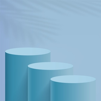 Streszczenie minimalne sceny z niebieskimi podium cylindrów. ilustracja wektorowa.