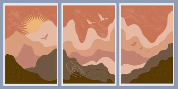 Streszczenie monochromatyczne krajobrazy górskie. zachód słońca i latające ptaki. natura w stylu boho. nowoczesne banery