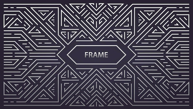 Streszczenie monogram geometryczna rama, vintage poziome srebro