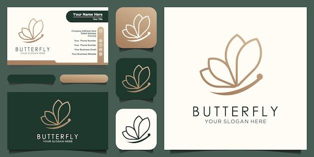 Streszczenie motyl koncepcja linii logo i wektor projekt wizytówki.