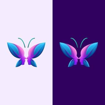 Streszczenie motyl twarz człowieka premium logo wektor