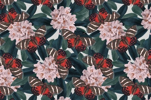 Streszczenie motyl wektor kwiatowy wzór, vintage remix z the naturalist's miscellany autorstwa george shaw