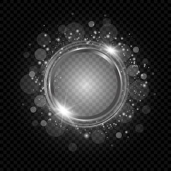 Streszczenie musujące efekt świetlny ramki na przezroczystym tle.