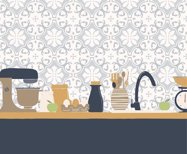 Streszczenie naczynia kuchenne i geometryczny wzór ściany