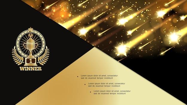 Streszczenie nagród noc błyszcząca kompozycja ze spadającymi błyszczącymi jasnymi gwiazdami i ilustracją etykiety nagrody