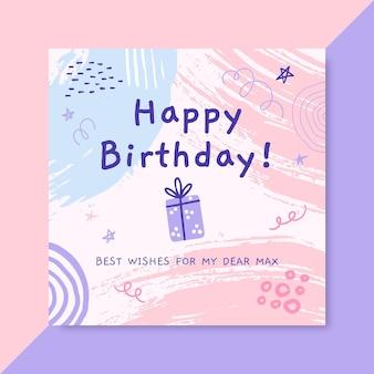 Streszczenie namalowany post na instagramie urodzinowy dla dzieci