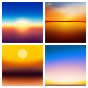 Streszczenie natura niewyraźne tło zestaw. kwadrat rozmyte tło zestaw - niebo chmury morze ocean zielone kolory