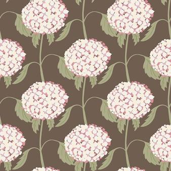 Streszczenie natura wzór z ornamentem kwiatów białej hortensji. brązowe pastelowe tło. ilustracja wektorowa do sezonowych wydruków tekstylnych, tkanin, banerów, teł i tapet.