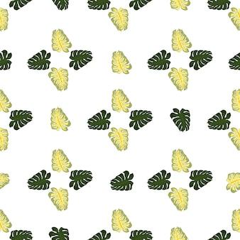 Streszczenie natura wzór z zielonymi kształtami monstera. na białym tle tło. wydruk botaniczny. tło dekoracyjne do projektowania tkanin, nadruków na tekstyliach, zawijania, okładek. ilustracja wektorowa.