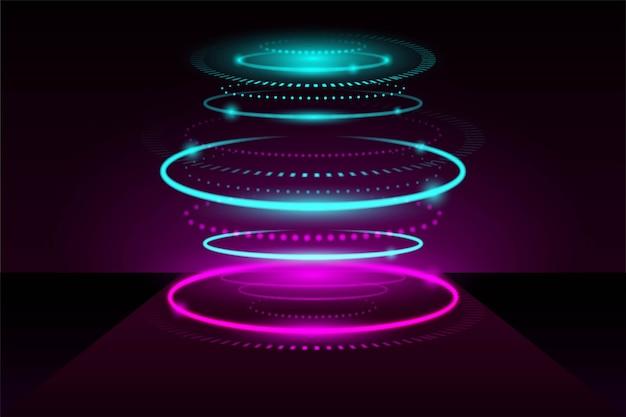 Streszczenie neonowe światła futurystyczne tło
