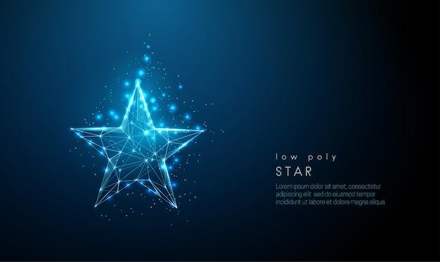 Streszczenie niebieska gwiazda. konstrukcja w stylu low poly.