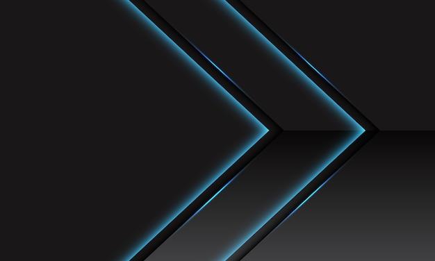 Streszczenie niebieska linia światła neon błyszczący metaliczny kierunek strzałki na ciemnoszarym z pustą przestrzenią projektowania nowoczesnej futurystycznej technologii