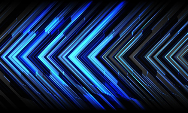 Streszczenie niebieska strzałka światła cyber geometrycznej technologii futurystyczny kierunek na szarym tle nowoczesne.