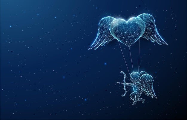 Streszczenie niebieski anioł amorek latający pod sercem. szczęśliwych walentynek karty. projekt w stylu low poly. lekka konstrukcja szkieletowa.