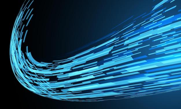 Streszczenie niebieski cyber danych geometryczny dynamiczny przepływ danych na czarnym futurystycznym tle