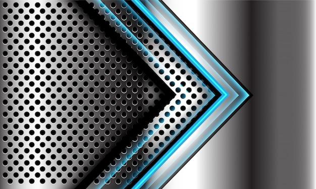 Streszczenie niebieski kierunek strzałki światła na srebrnym okręgu siatki projekt nowoczesnej futurystycznej luksusowej technologii tło.