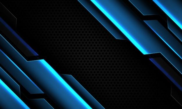 Streszczenie niebieski metaliczny cyber geometryczne ukośnik na czarnym kółku siatki nowoczesnej futurystycznej technologii tle