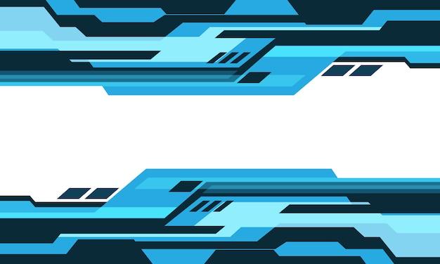Streszczenie niebieski odcień geometryczny obwód cyber na białej pustej przestrzeni projekt nowoczesnej futurystycznej technologii tło.