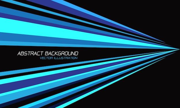 Streszczenie niebieski odcień linii prędkości trójkąta w kierunku kształtu na czarnym nowoczesnym futurystycznym tle