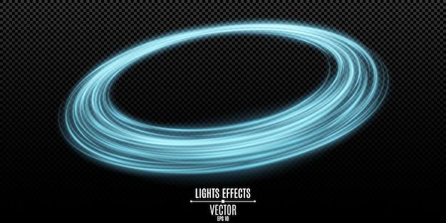 Streszczenie niebieski pierścień wirujących linii neonowych na przezroczystym ciemnym