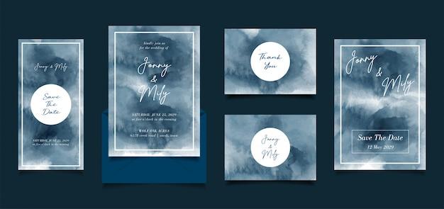 Streszczenie niebieski ręcznie malowane akwarela zaproszenie ślubne projekt