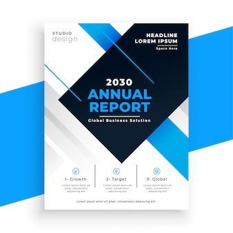 Streszczenie niebieski roczne sprawozdanie busienss ulotki szablon projektu