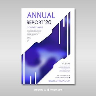 Streszczenie niebieski roczny szablon okładki raportu