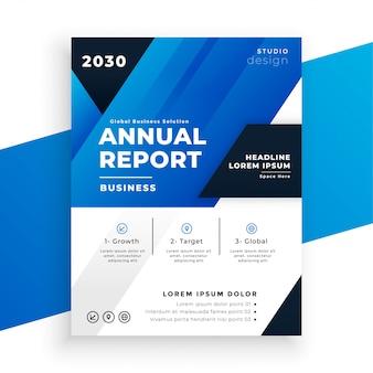 Streszczenie niebieski szablon raportu rocznego w geometrycznym stylu