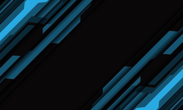 Streszczenie niebieski szary cyber geometryczne cięcie na ciemnej pustej przestrzeni projekt nowoczesnej futurystycznej technologii tło.