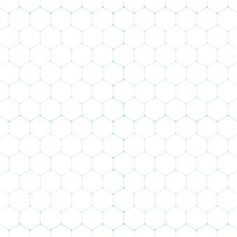 Streszczenie niebieski technologii sześciokąt biały