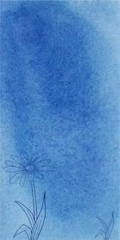 Streszczenie niebieski transparent akwarela tekstury tła z ręcznie rysowane kwiaty