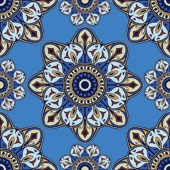 Streszczenie niebieski wzór do projektowania wyrobów włókienniczych