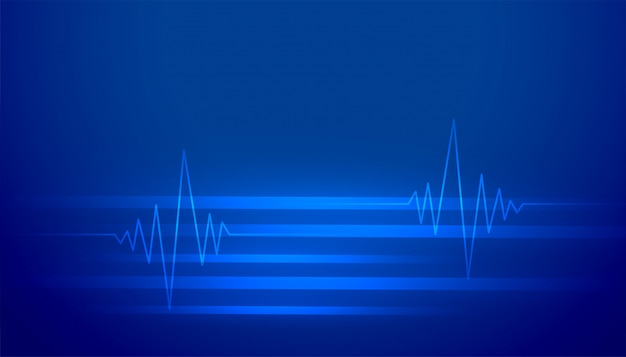 Streszczenie niebieski ze świecącymi liniami bicia serca