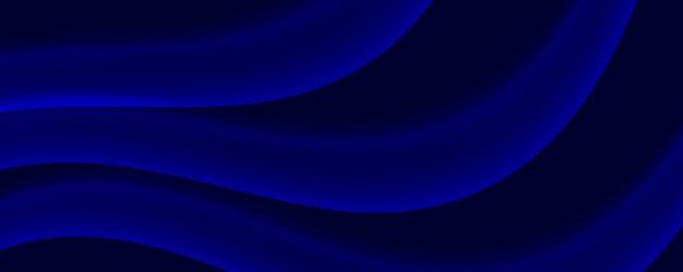 Streszczenie niebieskie granatowe tło dynamiczne, świecące linie fal płynu, koncepcja światła magicznej energii przestrzeni