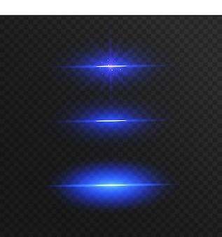 Streszczenie niebieskie linie światła na przezroczystym tle