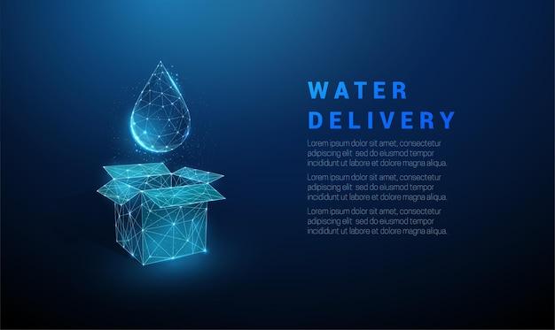 Streszczenie niebieskie otwarte pudełko i kropla wody. usługa dostarczania wody. projekt w stylu low poly. struktura połączenia światła szkieletowego. nowoczesna koncepcja graficzna