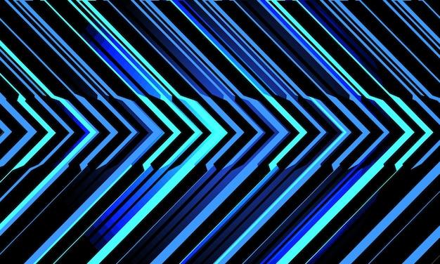 Streszczenie niebieskie światło neonowe obwód cyber strzałki na czarnym tle nowoczesnej technologii futurystycznej