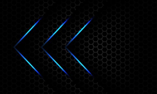 Streszczenie niebieskie światło strzałka ciemnoszara metaliczna siatka sześciokątna projekt luksusowy futurystyczny wektor tła