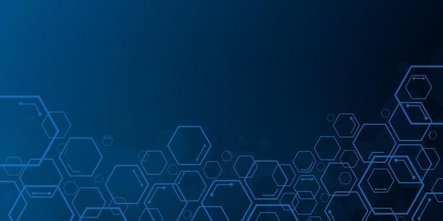 Streszczenie niebieskie tło sześciokątne technologii z miejsca na kopię
