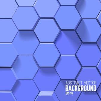 Streszczenie niebieskim tle z geometrycznymi sześciokątami