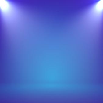 Streszczenie niewyraźne gładkie studio kolor niebieski tło z reflektorem dla prezentacji
